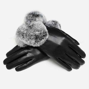 Faux Leather Fur Gloves
